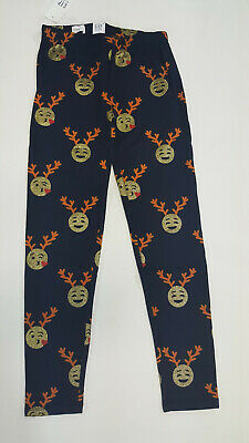 NWT Gap Kids Girls Size 6-7 or 10 Blue Reindeer Emoji Christmas Leggings