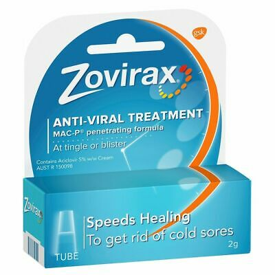 Zovirax Cold Sore Treatment Cream Tube 2G Anti-Viral Treatment Mac-P Formula