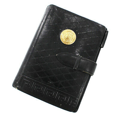 VERSACE Planner Cover Black Gold Leather Vintage Italy Authentic #HH382 I