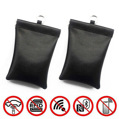 2× Car Key Signal Blocker Bag Keyless Fob RFID Blocking Carbon Fiber Pouch Case