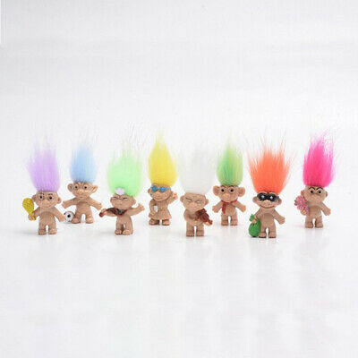 Lots 8 Lovely Vintage Troll Dolls Mini Figures Kids Collectible Toys Craft