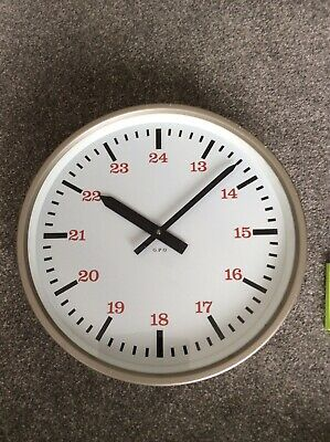 British Made `GPO` Electric Slave Wall Clock In Original Metal Case.