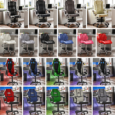 Racing Gaming Executive Chair Office Home Swivel Recliner Leather Computer Desk