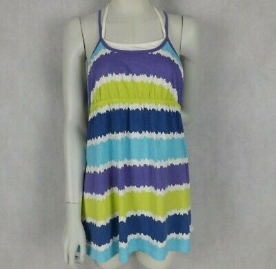 Piping Hot Girls Size 14 Dress Blue White Green Purple Strappy Stretch CasualD7