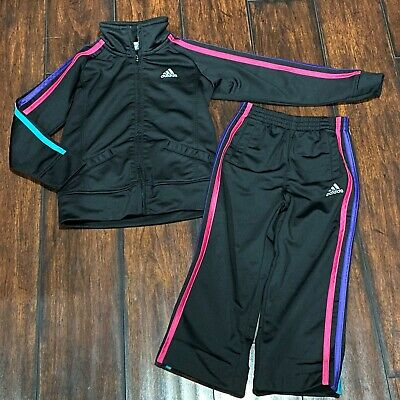 Adidas Tracksuit Girls 4T Athletic Pants & Jacket Black Outfit Set