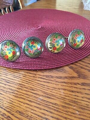 4 Antique Lucite with floral inserts circular curtain tiebacks