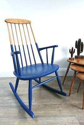 Mid-century rocking chair- wood veneer- sanded & ombre painted--a one off!