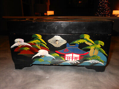 Vintage Black Lacquered Hand Painted Musical Jewelry Box