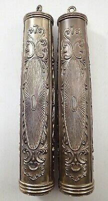 Pair Of Vintage Brass Wall Grandfather Clock Weights Parts Repair