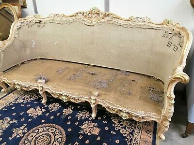 Antique French Louis XV style ornate carved three seat sofa frame for upholstery