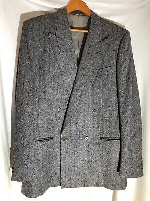 CANALI MILANO MEN's GRAY Striped WOOL DOUBLE BREASTED BLAZER 52L Made In ITALY