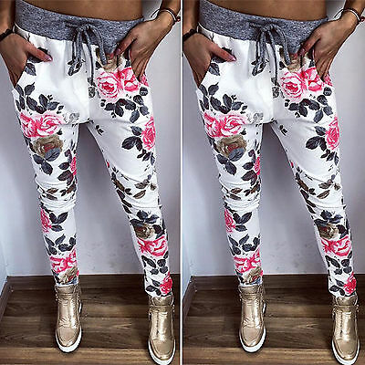 Womens Floral Jogger Pants Tracksuit Bottoms Sports Drawsting Sweatpants Trouser