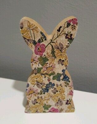 Easter Gift- Wooden Shape Bunny with Decoupage Spring Pattern Flowers