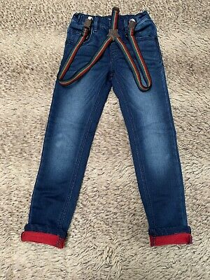 Next Boys Dark Blue Skinny Jeans With Rainbow Braces. 5-6 Years Old.