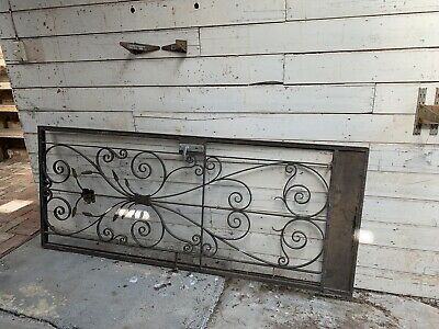 Large Vintage Steel Security Door Screen Retro Frame Wrought Iron, Beautiful