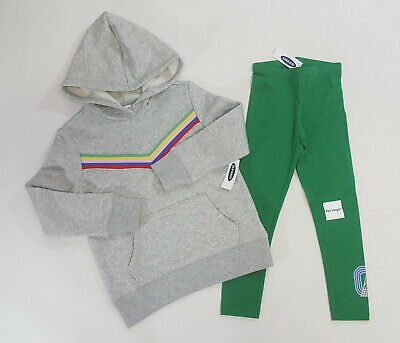 NWT Old Navy Girls Size XS 5 Retro Chevron Sweatshirt & Green Leggings 5t