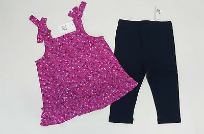 NWT Baby Gap Girls Size 4 4t Magenta Bow Flower Top & Navy Cropped Leggings
