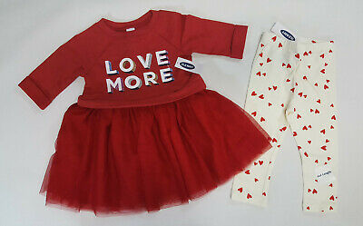 NWT Old Navy Girls Size 2t 3t or 5t Red Love Tutu Dress & Heart Leggings