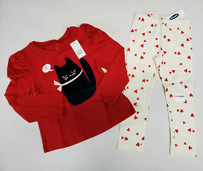 NWT Baby Gap Girls Size 2 2t Kitty Cat Top & Old Navy Red Heart Leggings