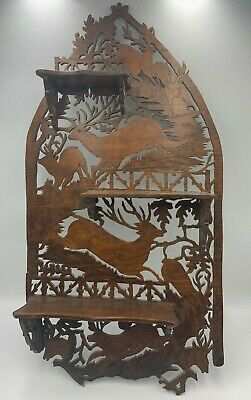 Antique Black Forest Shelf Hand Carved Stags German Germany Wall Decor