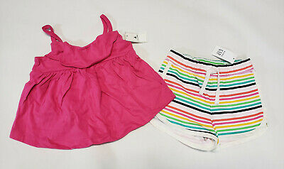 NWT Baby Gap Girls Size 18-24 Months Butterfly Top /& Rainbow Knit Shorts Outfit