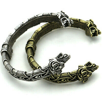 Men's Norse Viking Alloy Wolf Head Cuff Bracelet Bangle Amulet Jewelry Arm Ring