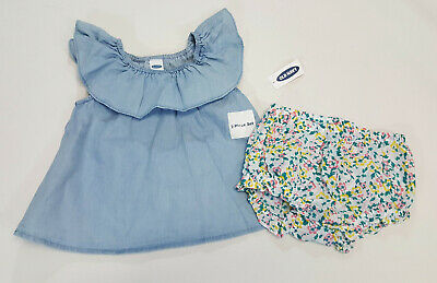 NWT Baby Girls Old Navy Size 0-3 or 12-18 Months Chambray Top /& Flower Bloomers