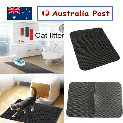 Cat Litter Trapping Mat Double-Layer Honeycomb Design Foldable Tray Trap Pad AU