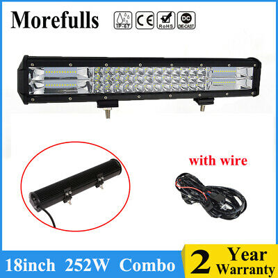 18inch 252W LED Work Light Bar Offroad with Wire for Truck 4WD Boat SUV UTE Car