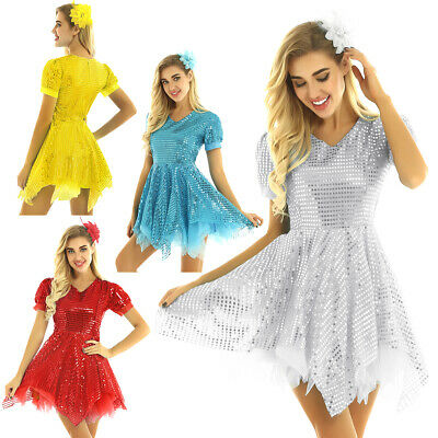 Womens Sequins V Neck Short Sleeves Modern Contemporary Dance Performance Dress