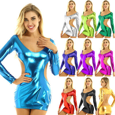 Women's Shiny Metallic Mini Dress Slim Deep V Neck Bodycon Nightclub Party Dress