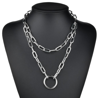 Hip Hop Simple Thick Chain Geometric Hollow Circle Metal Punk Necklace For Women