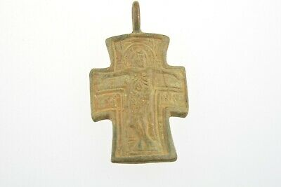 Late Byzantine bronze cross Jesus Christ crucified ICXC NIKO 12th century AD