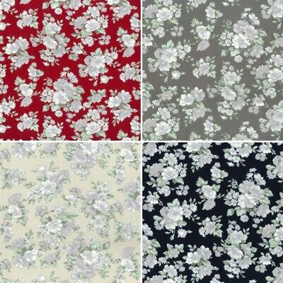 100/% Cotton Poplin Fabric Rose /& Hubble Brierley Hill Flower Bunches Floral