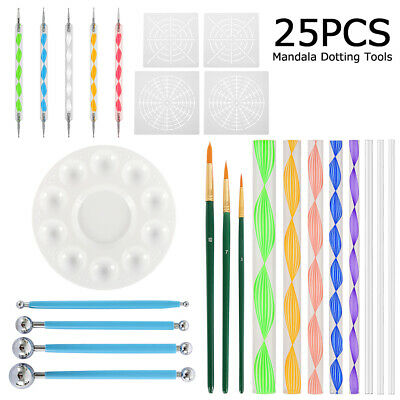 25x DIY Marbleizing Rock Painting Tools Nail Art Tools Dotting Pen Mandala Dot