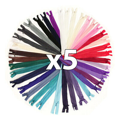 "x 5 x CONCEALED No.3 INVISIBLE 6""- 18"" NYLON ZIPS *19 COLOURS * CLOSED END ZIP"