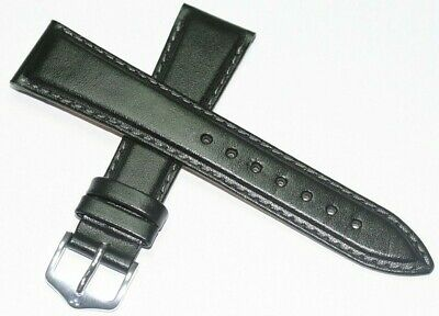 Hirsch Brumby 20Mm Black Genuine Leather Watch Band Sauna Tested Water Resist