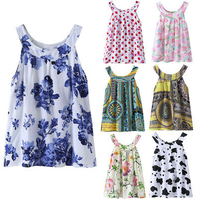 Kid Toddler Baby Girls Summer Holiday Floral Sleeveless Party Pageant Tutu Dress