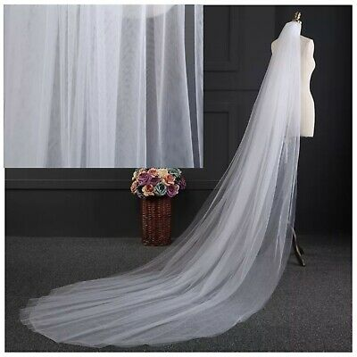 Wedding Bridal White Chapel Length Veil 2 Tier Soft Tulle Cut Edge With Comb
