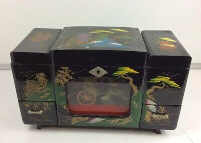 "Black Vintage Lacquer Chinese Jewelry Box With Mirror 5 1/2"" x 13"" x 7 1/2"" GUC"