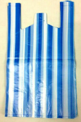 Vest Stripe Plastic Carrier Bags Red & Blue Shop Takeaway Mix Colors [All Sizes]