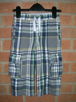 MINI BODEN Boys Green Blue Tartan Check Baggies Jeans Trousers Age 3 98cm