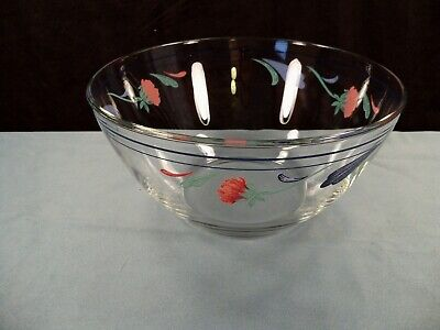 """Arcoroc for Lenox Poppies On Blue Clear Glass Serving Salad Bowl 9"""" Wide"""