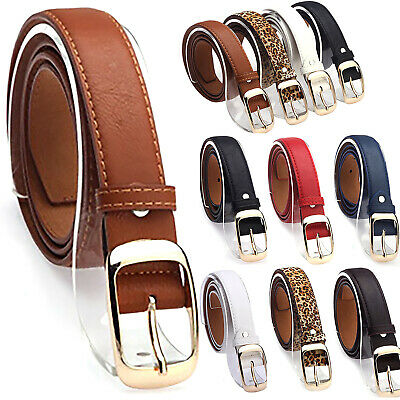 Womens Classic PU Leather Solid Waistband Stretch Buckle Wide Jean Belt Strap