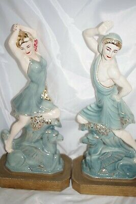 Vintage PAIR Chinese Majolica FOO DOG LADY MAN DANCER Figurines Brass Lamp Bases