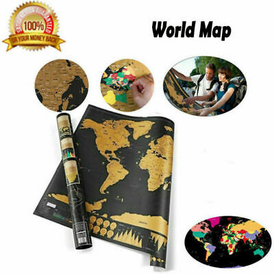 Scratch Off World Map Poster Journal Log Giant Map Of The World Gift-Deluxe