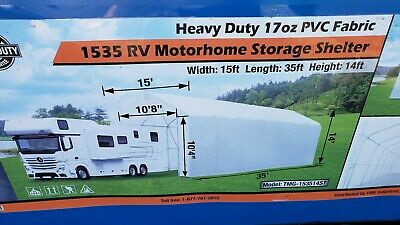 15x35x14 RV Motorhome Camper Boat Canvas Fabric Storage Building Shelter Garage