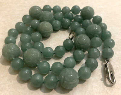 Hand Carved Jade Dragon Bead Necklace Antique Vintage Estate Jewelry