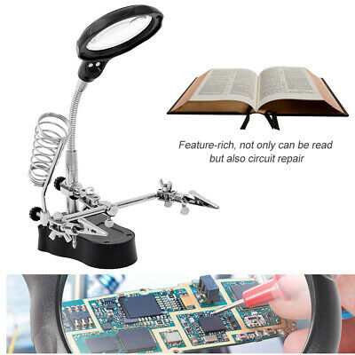 LED Light Soldering Iron Stand Holder Station Magnifier Glass Magnifying w/ Clip
