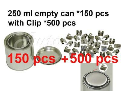 1/2 pint, 250 ml Empty Metal Paint Can (150 Cans and Lids) with Lock Clips 500pc